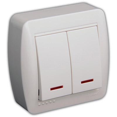 Выключатель двойной с подсветкой белый DEMET 711-0200-112