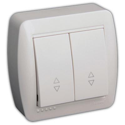 Выключатель проходной двойной белый DEMET 711-0200-106