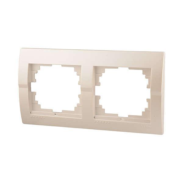 Рамка 2-ая горизонтальная жемчужно-белый металлик Deriy 702-3000-147
