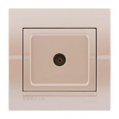 Розетка ТВ оконечная жемчужно-белая металлик Deriy 702-3030-130