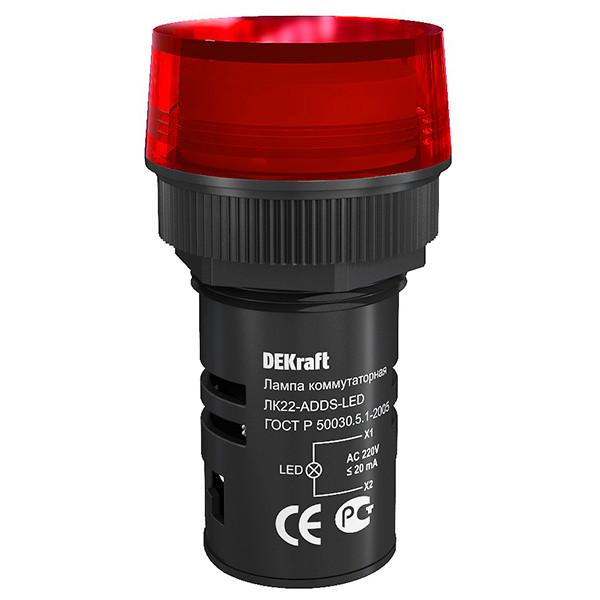 Лампа коммутационная ЛК22-ADDS-RED-LED /25003DEK/