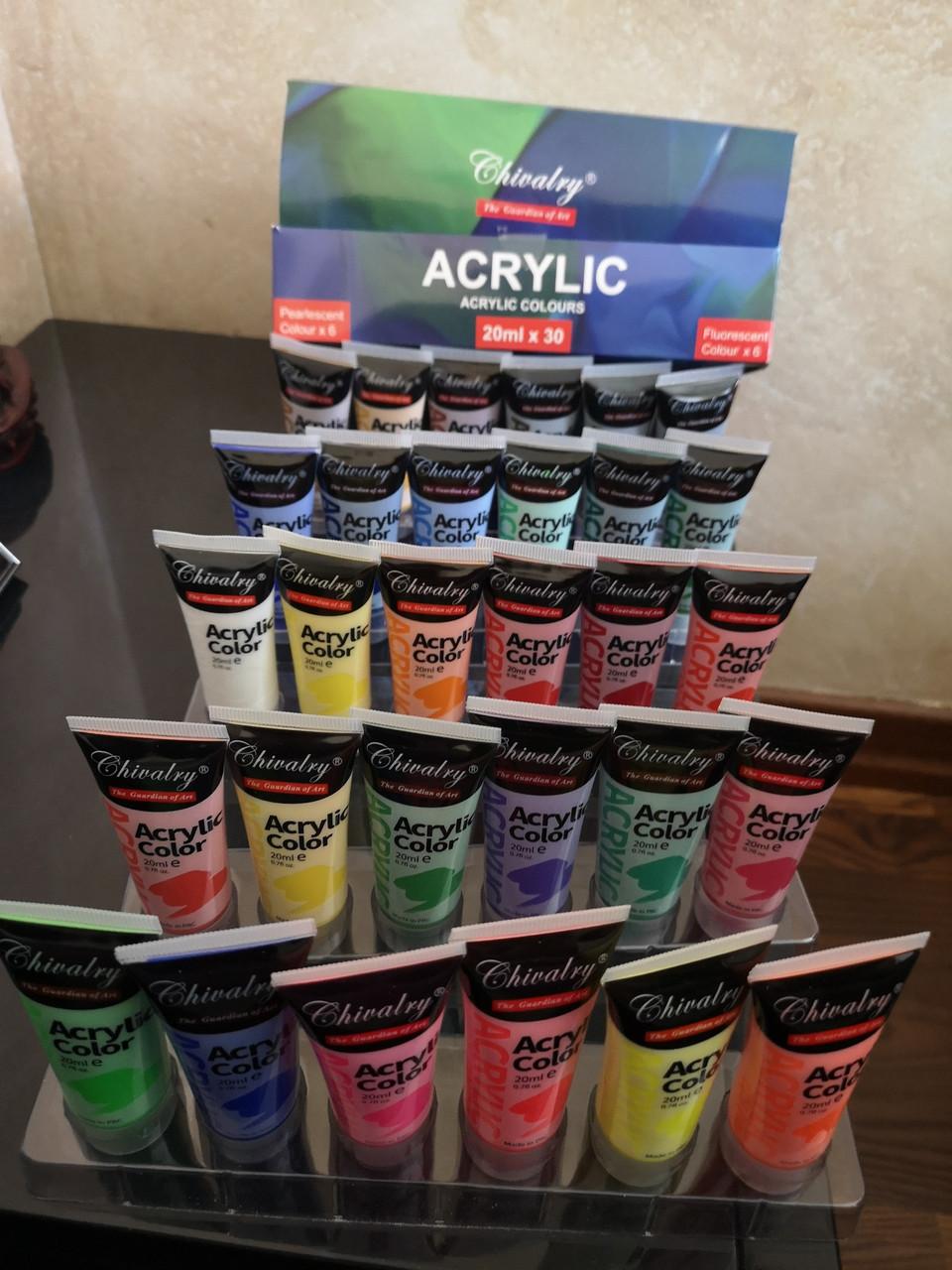 Краски акриловые разноцветные Chivalry 30 цветов 20мл