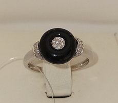 Кольцо с агатом и бриллиантами / 17,5 размер