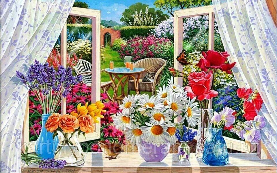 """Картина по номерам роспись по дереву """"Цветы у окна"""""""