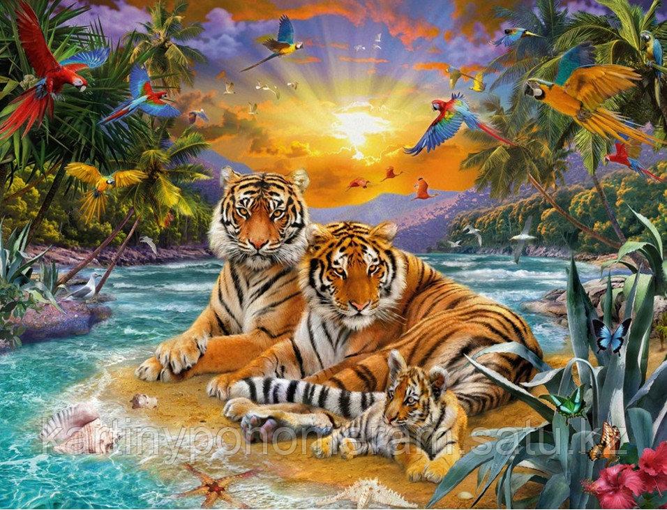 """Картина по номерам роспись по дереву """"Тигриное семейство"""""""