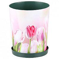 """Горшок цветочный """"Тюльпаны"""" с поддоном, 1.2 л, М6422"""