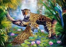 """Картина по номерам роспись по дереву """"Леопарды"""""""