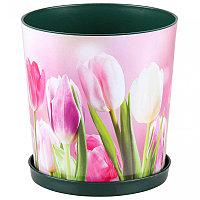 """Горшок цветочный """"Тюльпаны"""" с поддоном, 1.8 л, М6423"""