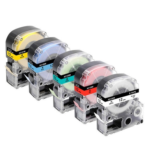 Картридж LC-4WBN  для Epson LabelWorks LW-300, LW-400 (лента 12mmx8m),черный на белом, фото 2