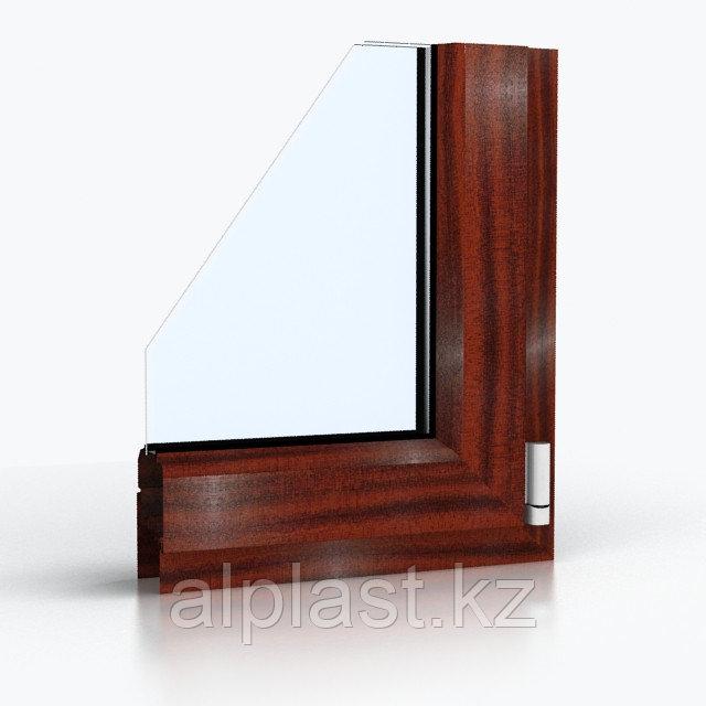 Ламинированные Окна ПВХ. Цвет - Махагон (металлопластиковые, пластиковые окна)