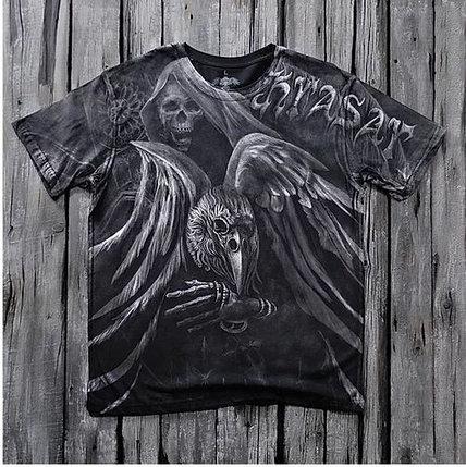 «Чёрный ворон» тотальная футболка мужская, фото 2