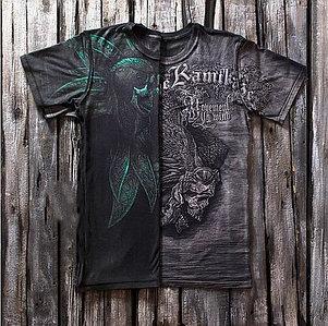 «Черный камикадзе» тотальная четырехсторонняя футболка мужская