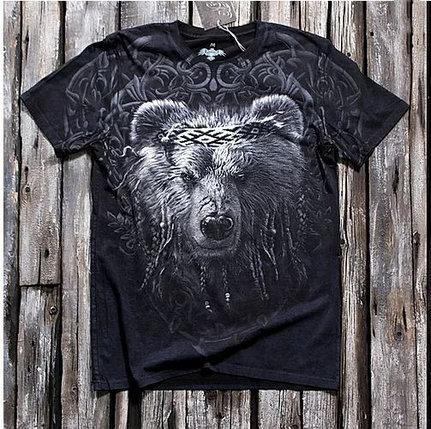 «Мудрый медведь» тотальная футболка мужская, фото 2