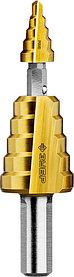 """Сверло ступенчатое составное ЗУБР, 4-22 мм, 11 ступеней, покрытие NiT, серия """"Профессионал"""" (29673-4-22)"""