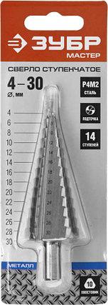 Сверло ступенчатое ЗУБР, 4-30 мм, 14 ступеней, Р4М2 (29665-4-30-14), фото 2
