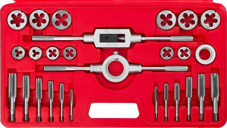 ЗУБР 27 предметов, 9ХС, набор метчиков и плашек в пластик. боксе  (28123-H27), фото 2