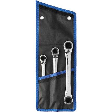 ЗУБР из 3 шт, 8-19 мм, набор накидных гаечных ключей трещоточных (27105-H3), фото 2