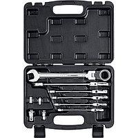 ЗУБР 10 шт, 8 - 19 мм, набор комбинированных гаечных ключей трещоточных шарнирных с адаптерами 27 (27102-H10)
