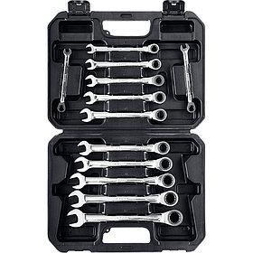 ЗУБР из 12 шт, 8 - 19 мм, набор комбинированных гаечных ключей трещоточных (27073-H12)