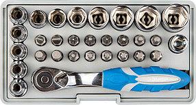 Набор: трещотка, биты и торцовые головки ЗУБР, 30 шт., Cr-Mo (26054-H31)