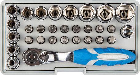 Набор: трещотка, биты и торцовые головки ЗУБР, 30 шт., Cr-Mo (26054-H31), фото 2