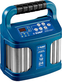 Интеллектуальное зарядное устройство ЗУБР, 6в/12в/24в, 12A, автомат (9 режимов заряда), IP65,серия Проф(59305)