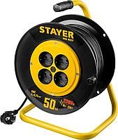Удлинитель на катушке Stayer, MS 207, 50 м, 1300 Вт, ПВС 2x0,75 (55073-50)