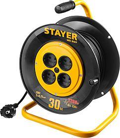 Удлинитель на катушке Stayer, MS 207, 30 м, 2200 Вт, ПВС 2x0,75 (55073-30_z01)