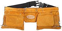 Пояс для инструментов Stayer, 11 карманов, кожаный, петля (скоба) для крупного инструмента (38520)
