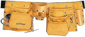 Пояс для инструментов Stayer, 10 карманов, кожаный, петля (скоба) для крупного инструмента (38512)