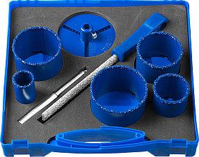 Набор кольцевых коронок ЗУБР, 8 шт.: Ø 33, 53, 67, 73, 83 мм, карбид-вольфрамовое нанесение (33350-H8)
