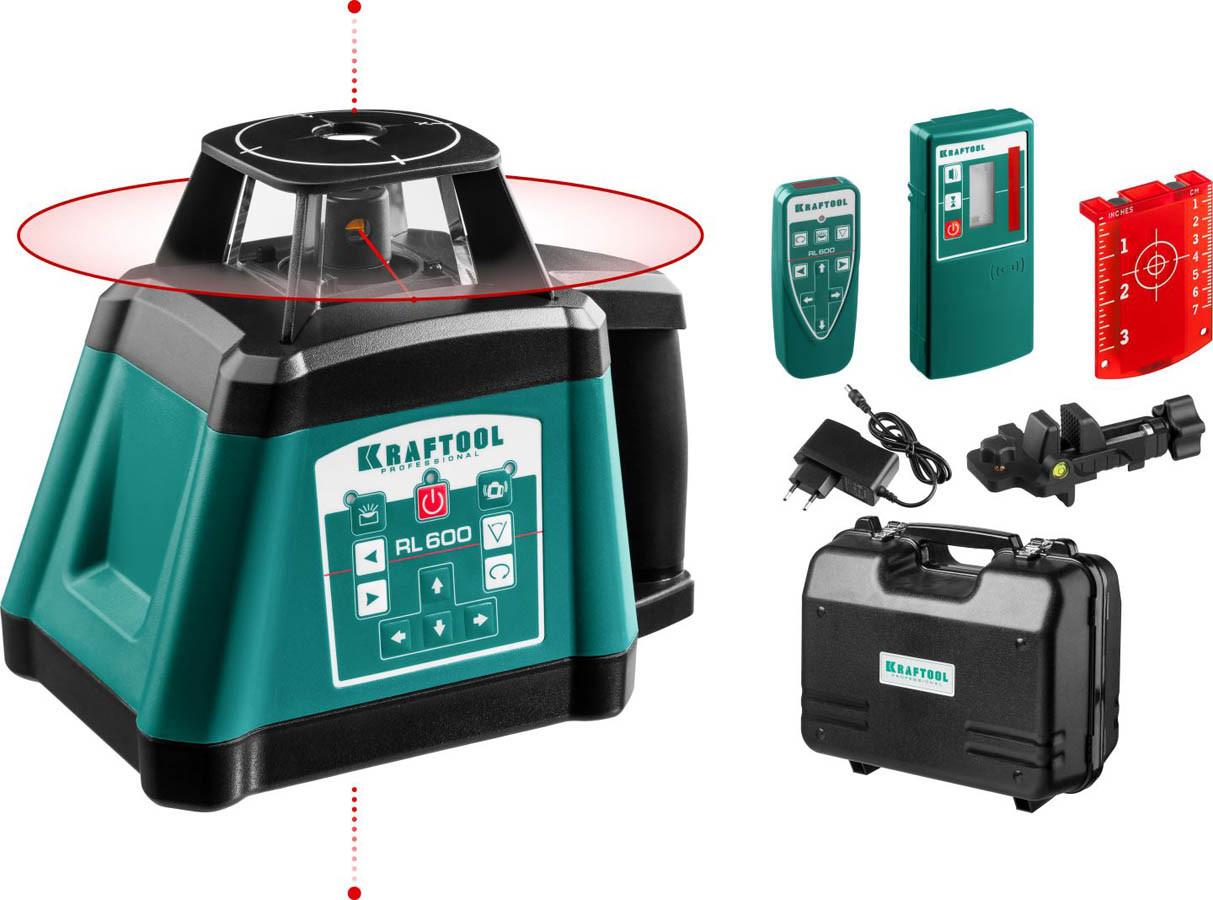 Ротационный лазерный нивелир Kraftool, 600 м, IP54, точн. 0,2 мм/м, сверхъяркий (34600)