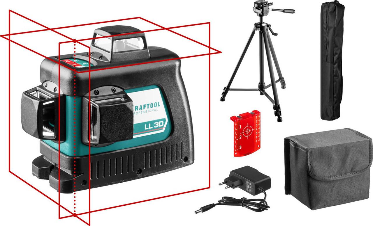 Нивелир лазерный Kraftool, 20-70 м, 360 градусов, сверхъяркий, IP54, точн. 0,2 мм/м, со штативом (34640-3)