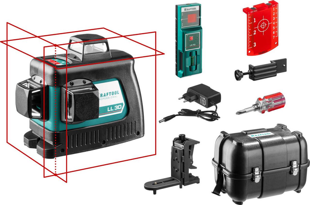 Нивелир лазерный Kraftool, 20-70 м, 360 градусов, (детектор), сверхъяркий, IP54, точн. 0,2 мм/м,(34640-4)