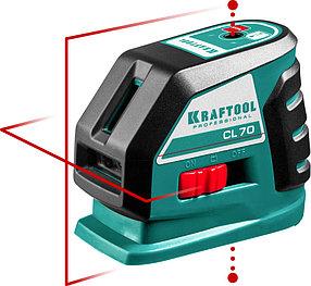 Нивелир лазерный линейный Kraftool, 20-70 м, (детектор), сверхъяркий, IP54, точн. 0,2 мм/м (34660)