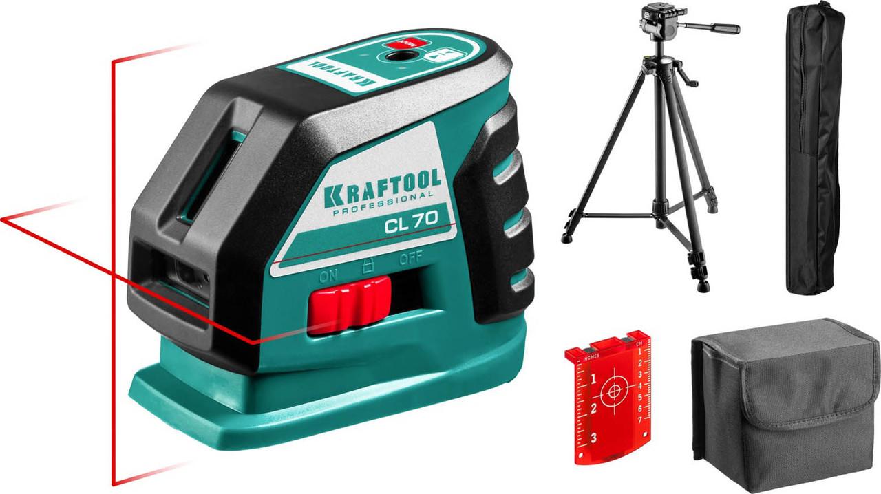 Нивелир лазерный линейный Kraftool, 20-70 м, сверхъяркий, IP54, точн. 0,2 мм/м, штатив (34660-3)