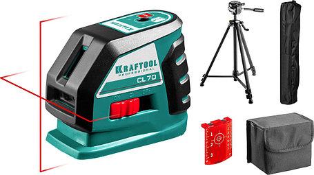 Нивелир лазерный линейный Kraftool, 20-70 м, сверхъяркий, IP54, точн. 0,2 мм/м, штатив (34660-3), фото 2