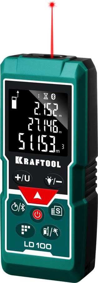 Лазерный дальномер Kraftool, дальность 5 см - 100 м, точность 1,5 мм (34765)