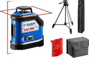 Нивелир лазерный линейный Крест-360-2, ЗУБР, 20м (70м с приемн), точн. 0,3 мм/м, штатив, двухлучевой (34906-2)