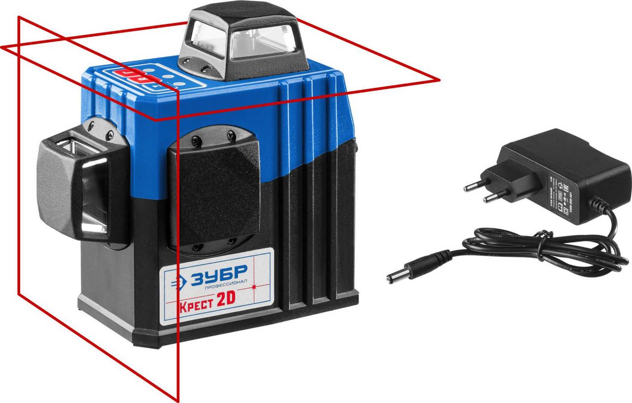 Нивелир лазерный линейный Крест-2D ЗУБР, 20-70 м (с приемником), точн. 0,3 мм/м (34907)