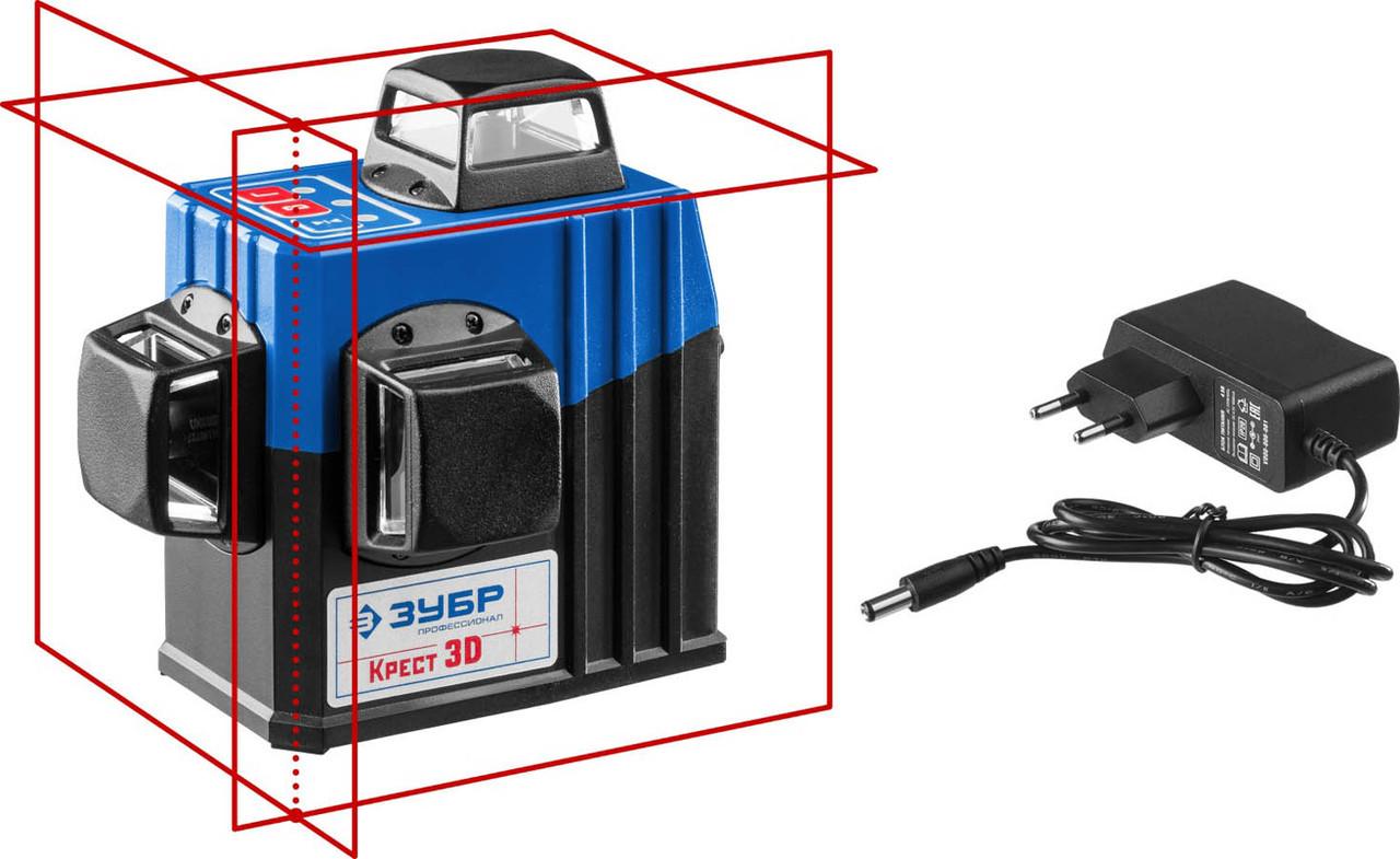 Нивелир лазерный линейный Крест-3D, ЗУБР, 20-70 м (с приемником), точн. 0,3 мм/м, двухлучевой (34908)