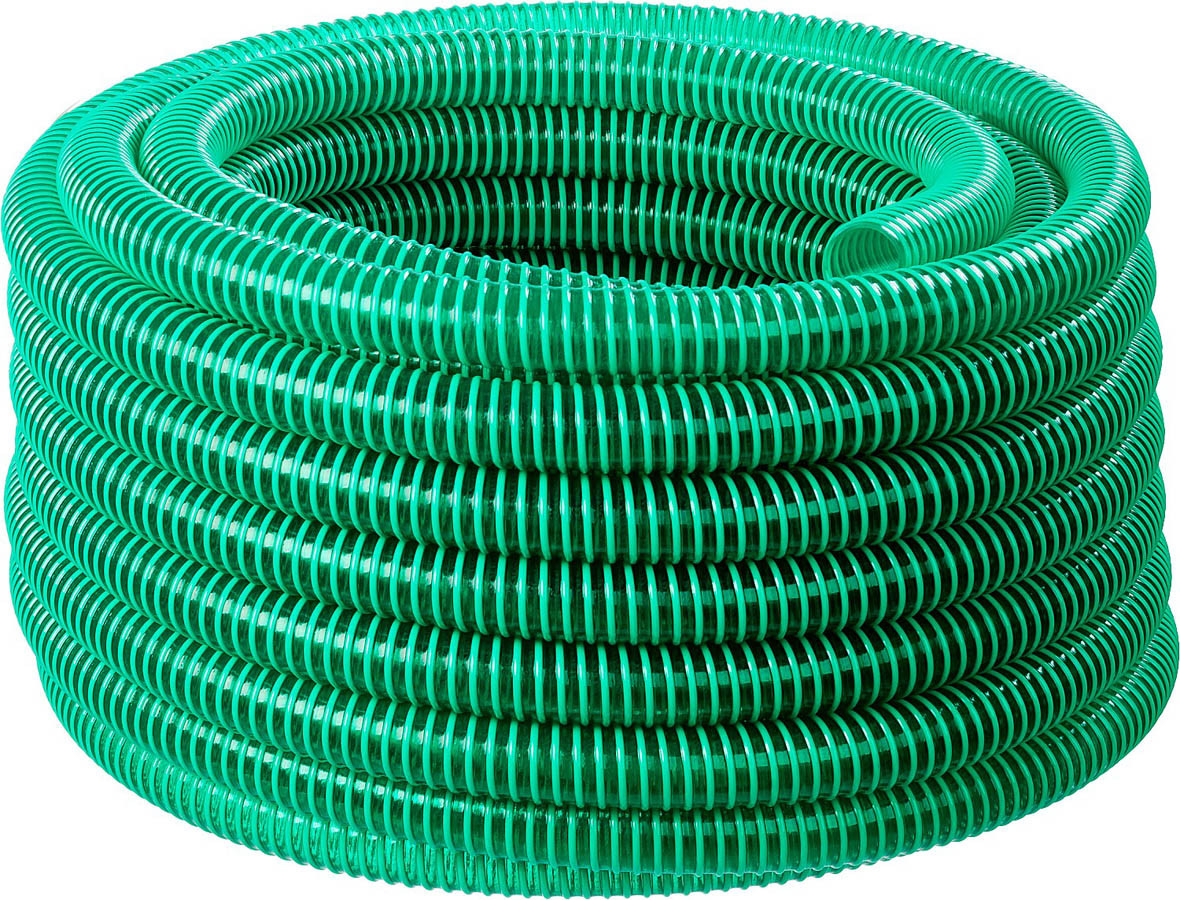 Шланг напорно-всасывающий, ЗУБР, 25 мм x 15 м, 180 гр/м, со спиралью ПВХ, 3 атм (40325-25-15)