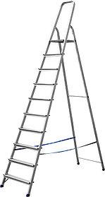 Лестница-стремянка, Сибин,10 ступен.., алюминий, максимальная нагрузка 150 кг (38801-10)