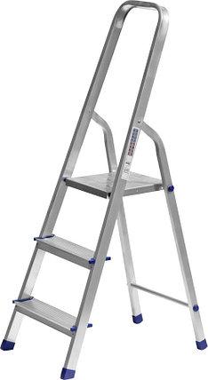 Лестница-стремянка, Сибин, 3 ступен.., алюминий, максимальная нагрузка 150 кг (38801-3), фото 2