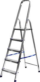 Лестница-стремянка, Сибин, 5 ступен.., алюминий, максимальная нагрузка 150 кг (38801-5)