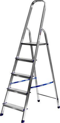 Лестница-стремянка, Сибин, 5 ступен.., алюминий, максимальная нагрузка 150 кг (38801-5), фото 2
