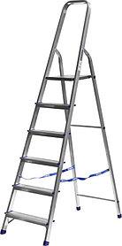 Лестница-стремянка, Сибин, 6 ступен.., алюминий, максимальная нагрузка 150 кг (38801-6)