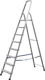 Лестница-стремянка, Сибин, 8 ступен.., алюминий, максимальная нагрузка 150 кг (38801-8)