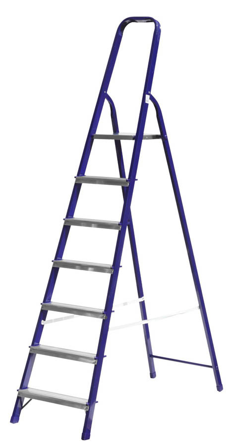 Лестница-стремянка, Сибин, 7 ступен.., алюминий, максимальная нагрузка 150 кг (38803-07)