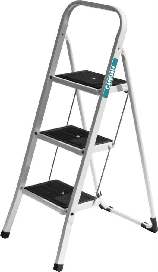 Лестница-стремянка, Сибин, 3, сталь, максимальная нагрузка 150 кг (38807-03_z01)